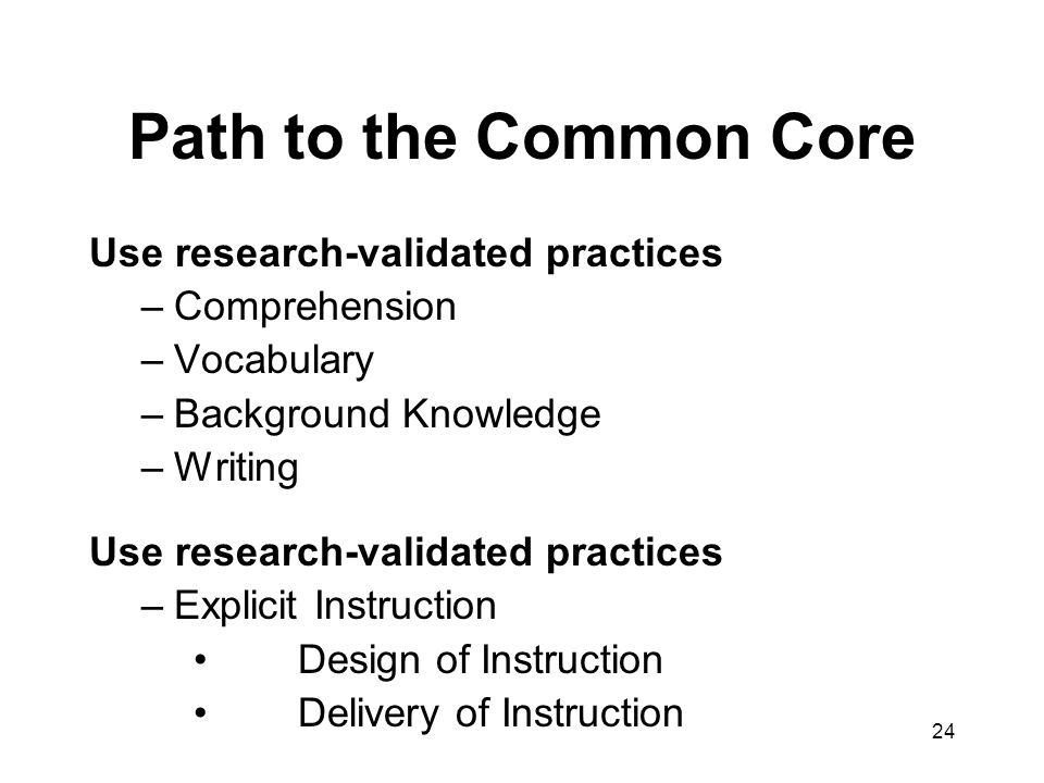 Path to the Common Core Use research-validated practices Comprehension