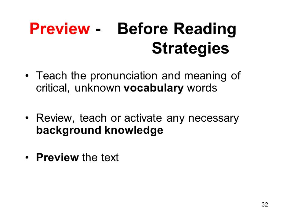 Preview - Before Reading Strategies