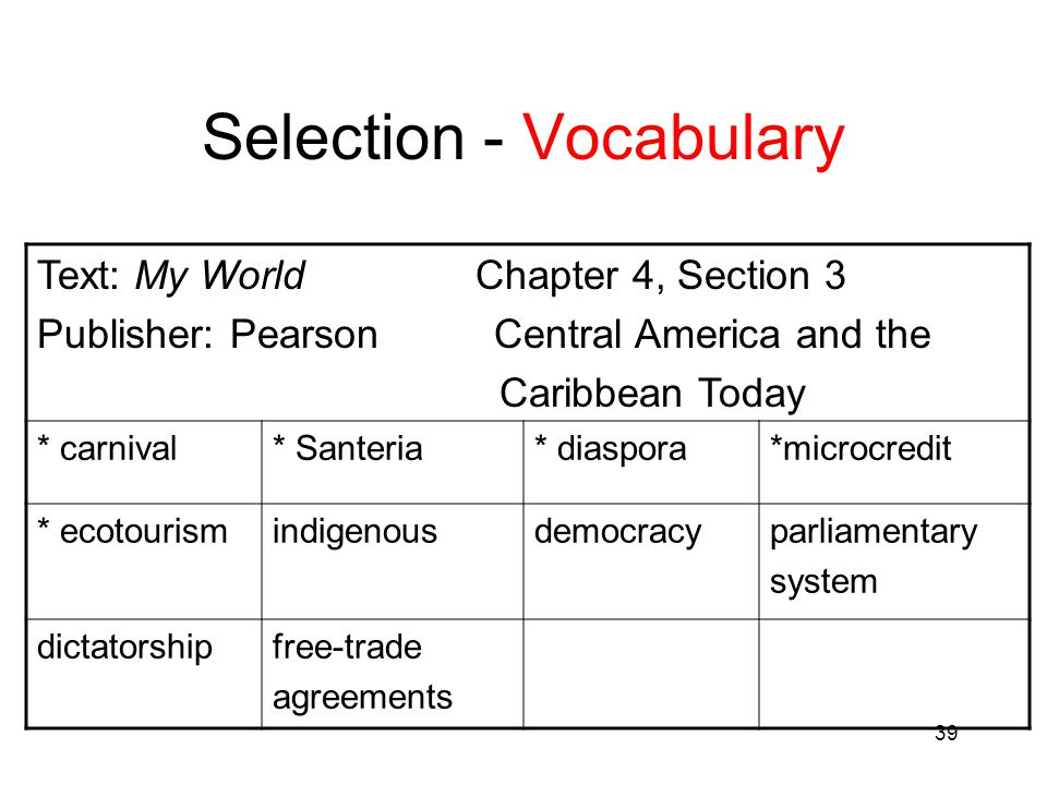 Selection - Vocabulary
