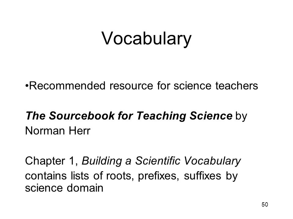 Vocabulary Recommended resource for science teachers