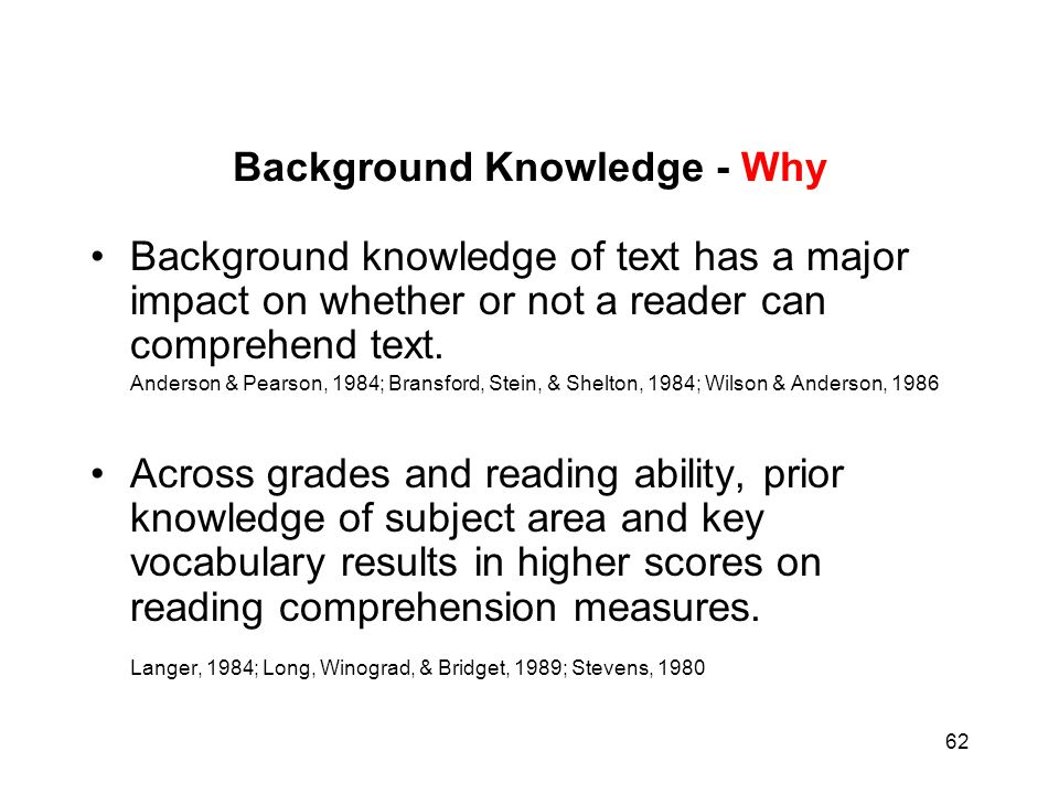 Background Knowledge - Why