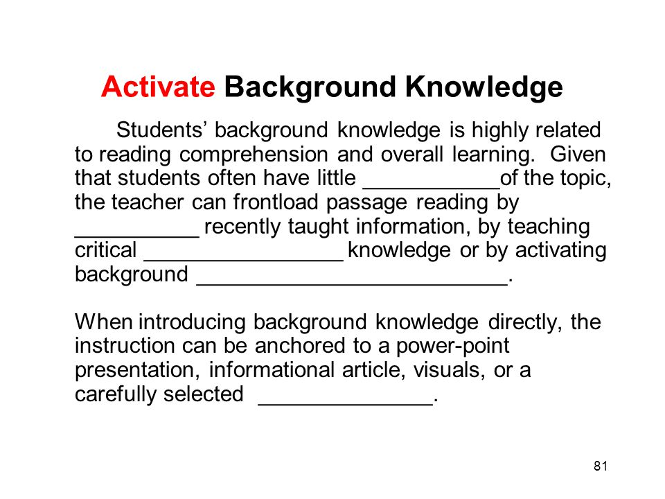 Activate Background Knowledge