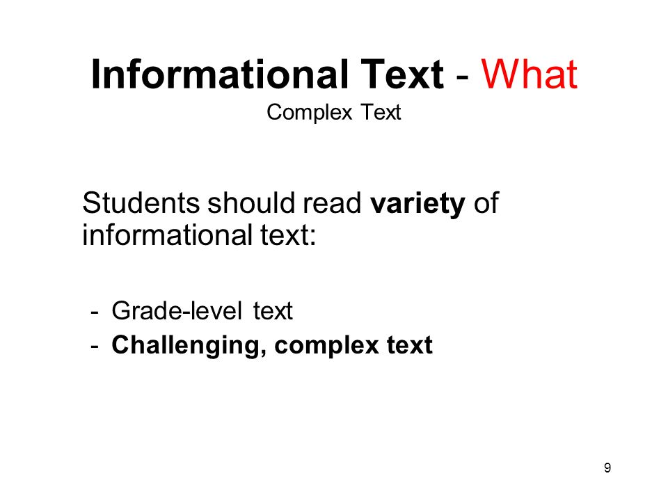 Informational Text - What Complex Text