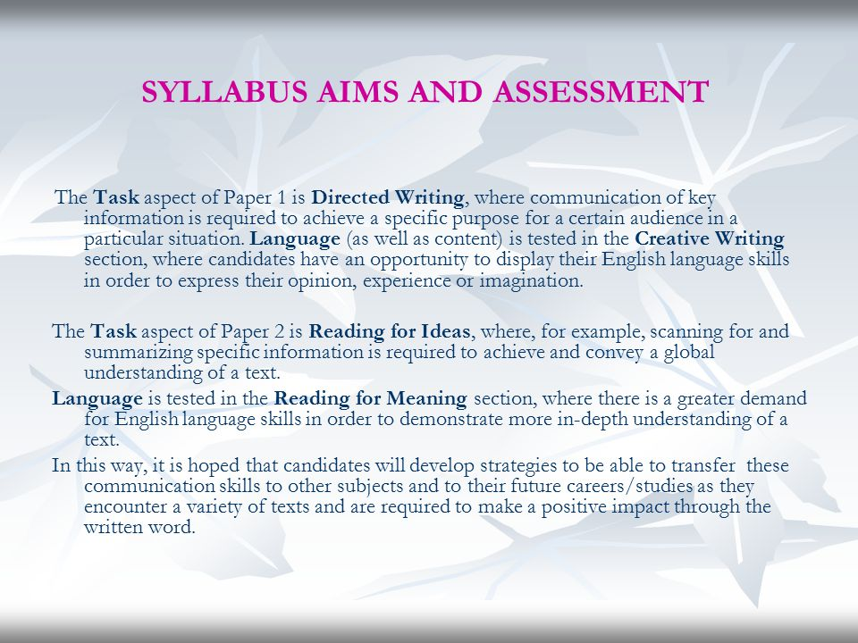 SYLLABUS AIMS AND ASSESSMENT