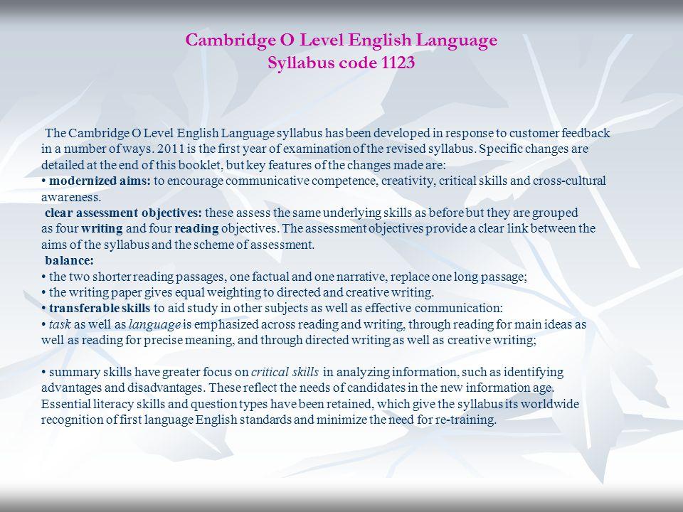Cambridge O Level English Language Syllabus code 1123