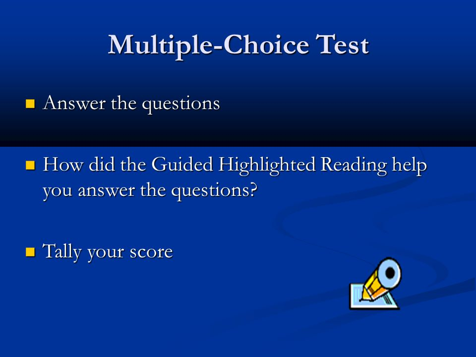 Multiple-Choice Test Answer the questions
