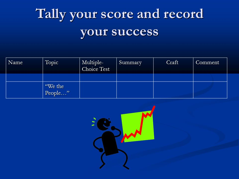 Tally your score and record your success