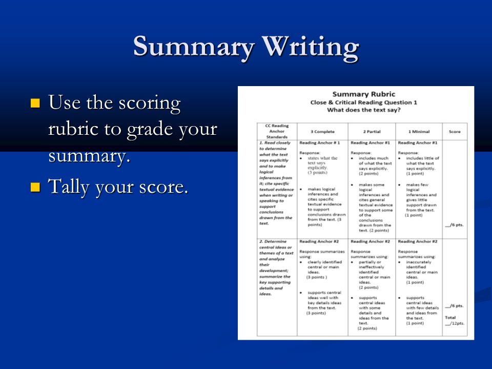 Summary Writing Use the scoring rubric to grade your summary.