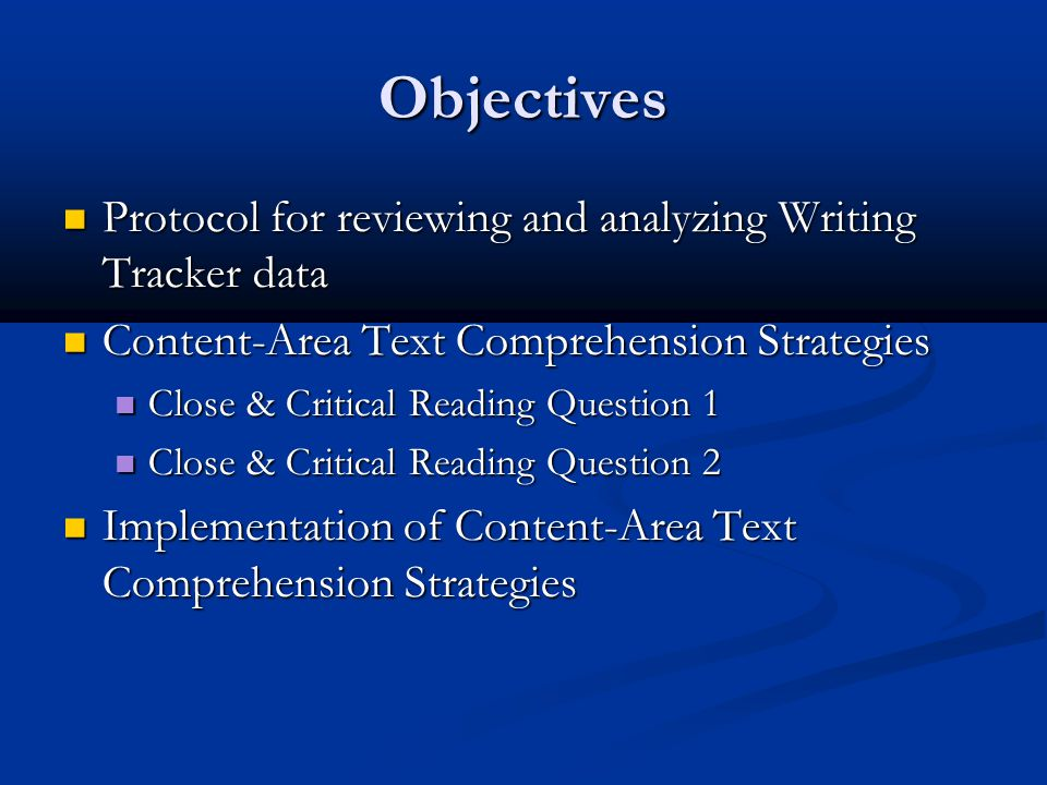 Objectives Protocol for reviewing and analyzing Writing Tracker data