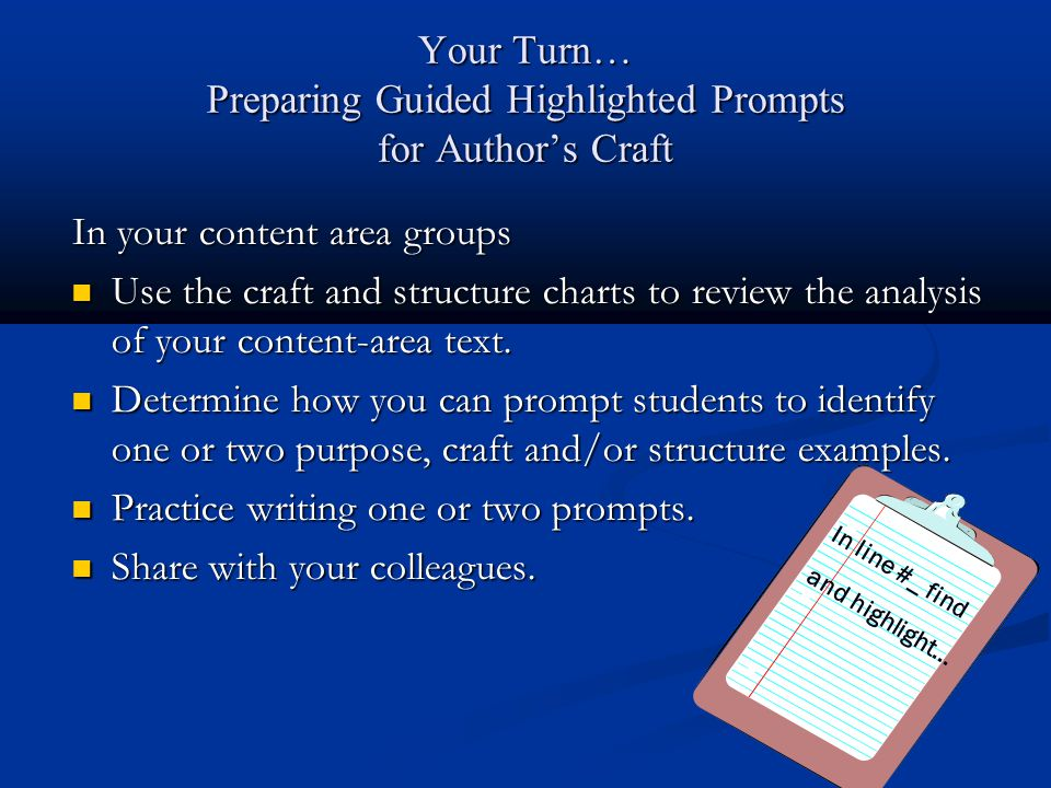 Your Turn… Preparing Guided Highlighted Prompts for Author's Craft