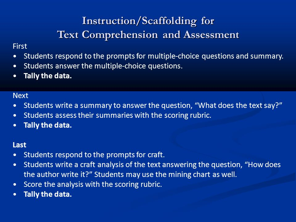 Instruction/Scaffolding for Text Comprehension and Assessment