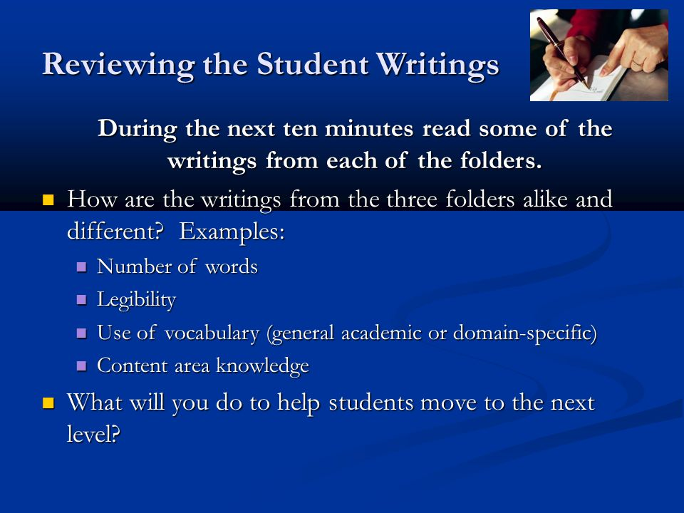 Reviewing the Student Writings
