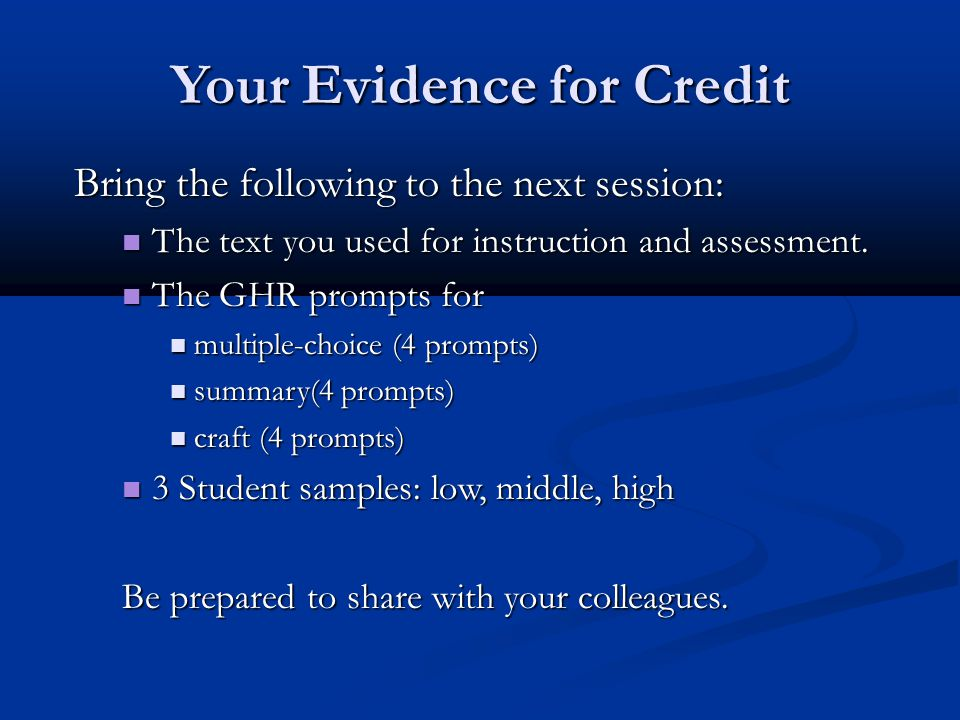 Your Evidence for Credit