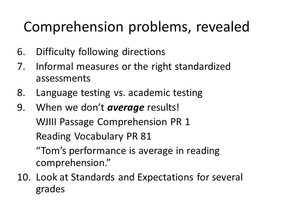 Comprehension problems, revealed