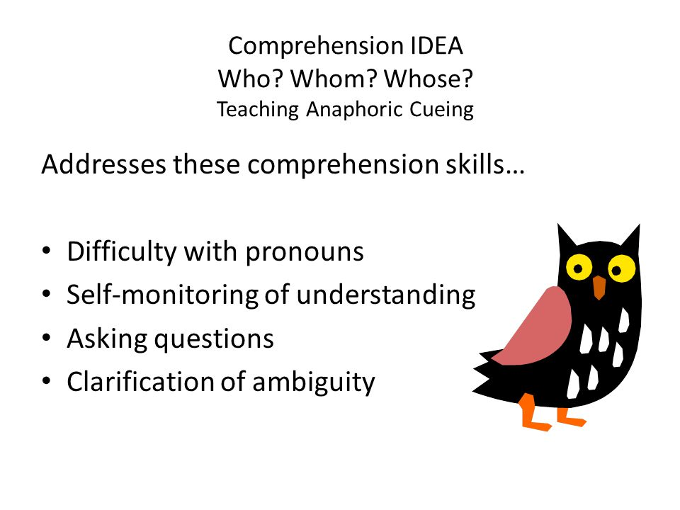 Comprehension IDEA Who Whom Whose Teaching Anaphoric Cueing