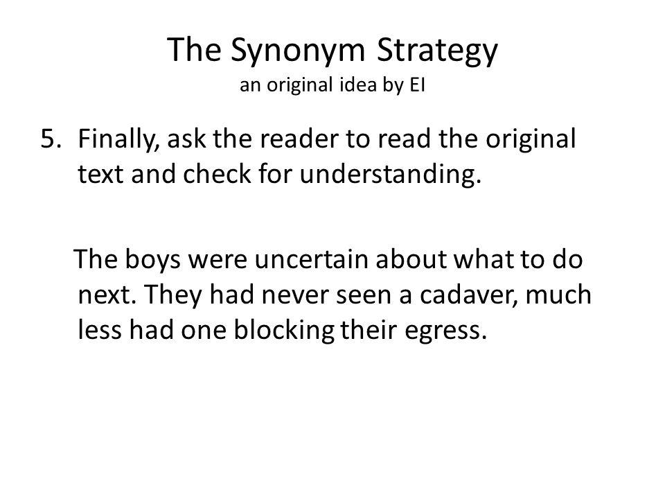 The Synonym Strategy an original idea by EI