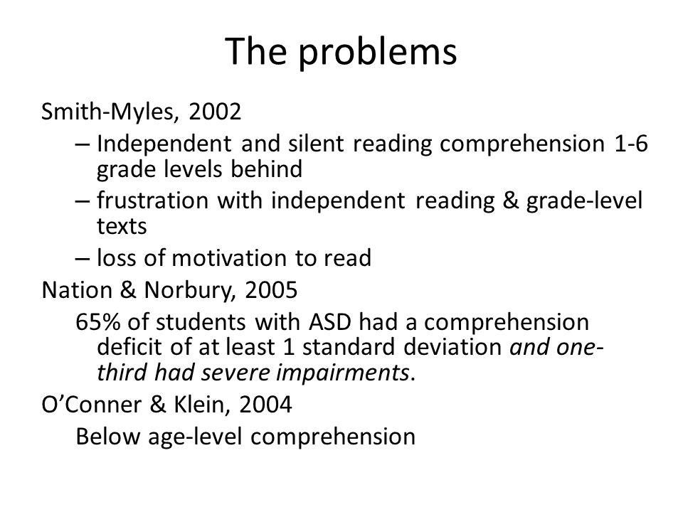 The problems Smith-Myles, 2002