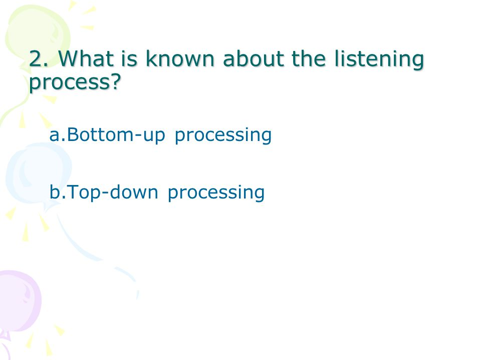 2. What is known about the listening process
