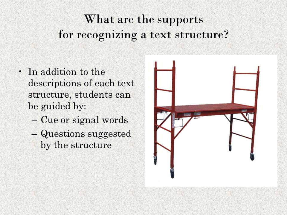 What are the supports for recognizing a text structure