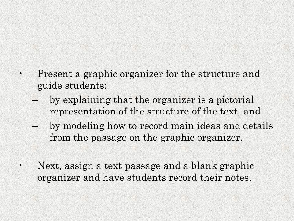 Present a graphic organizer for the structure and guide students: