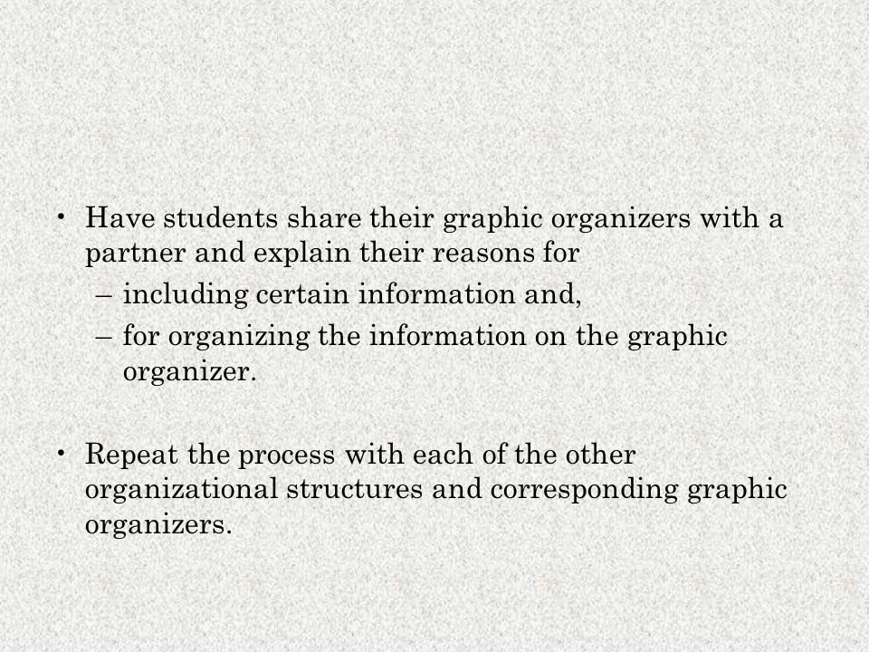 Have students share their graphic organizers with a partner and explain their reasons for