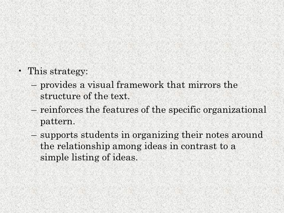 This strategy: provides a visual framework that mirrors the structure of the text. reinforces the features of the specific organizational pattern.