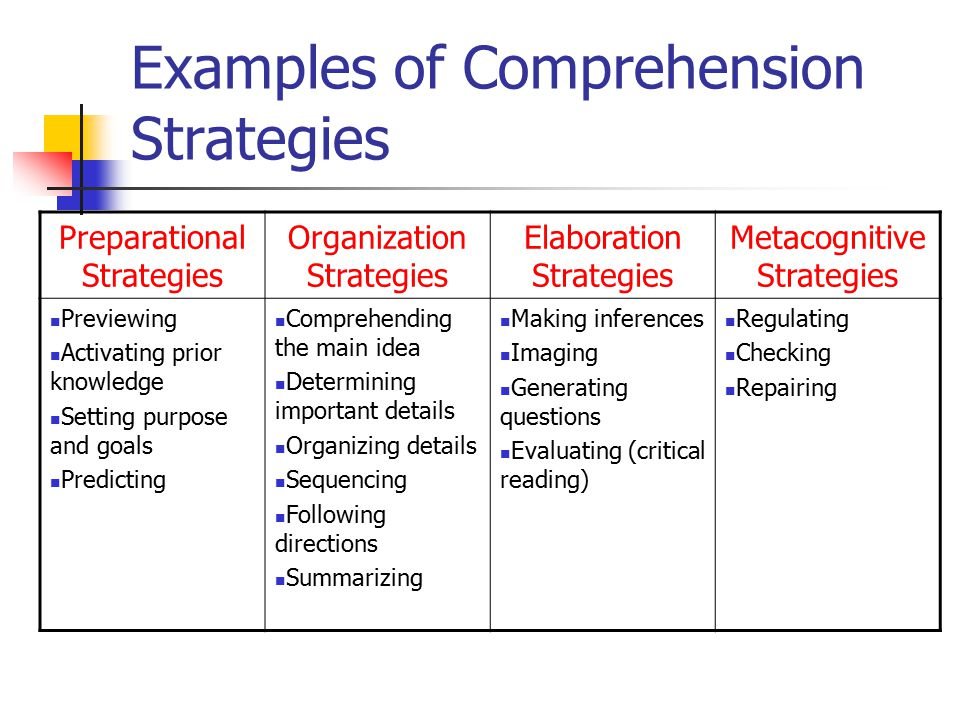 Examples of Comprehension Strategies
