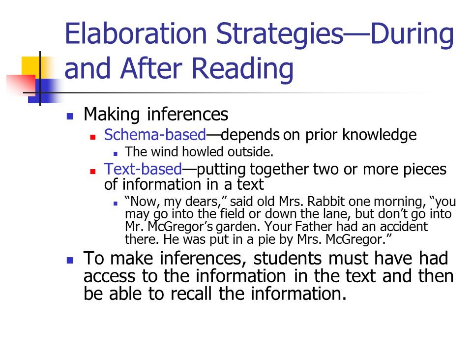 Elaboration Strategies—During and After Reading