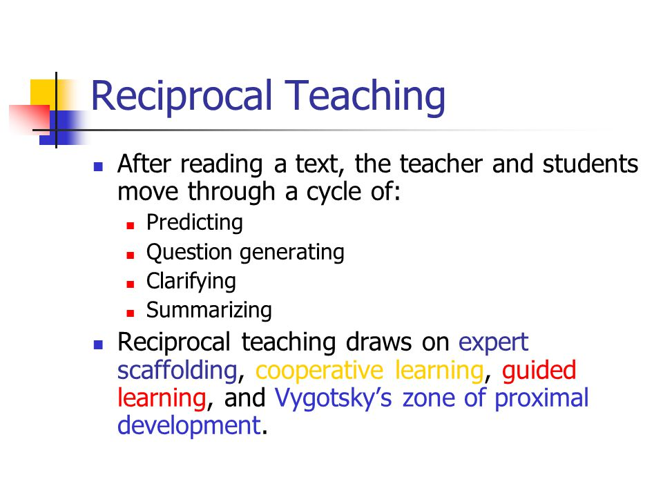 Reciprocal Teaching After reading a text, the teacher and students move through a cycle of: Predicting.