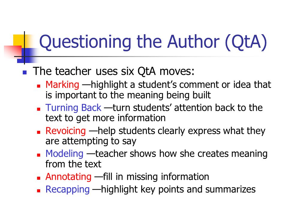 Questioning the Author (QtA)