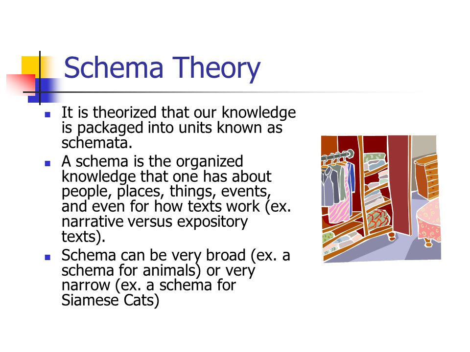 Schema Theory It is theorized that our knowledge is packaged into units known as schemata.