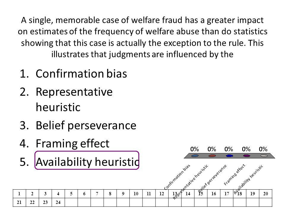 Representative heuristic Belief perseverance Framing effect