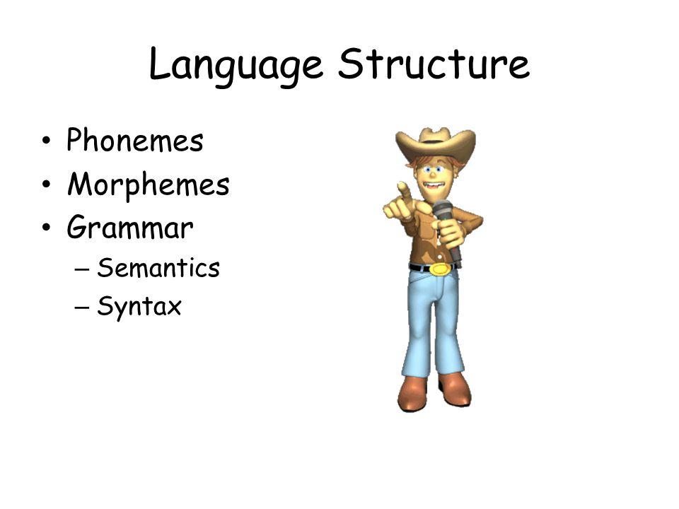 Language Structure Phonemes Morphemes Grammar Semantics Syntax