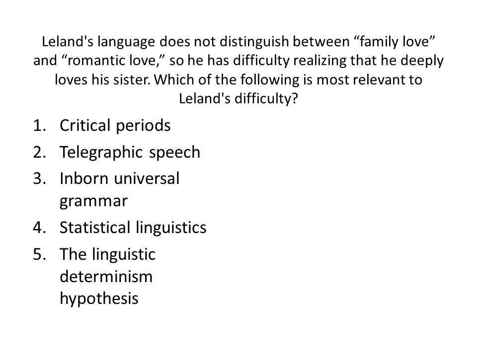 Inborn universal grammar Statistical linguistics