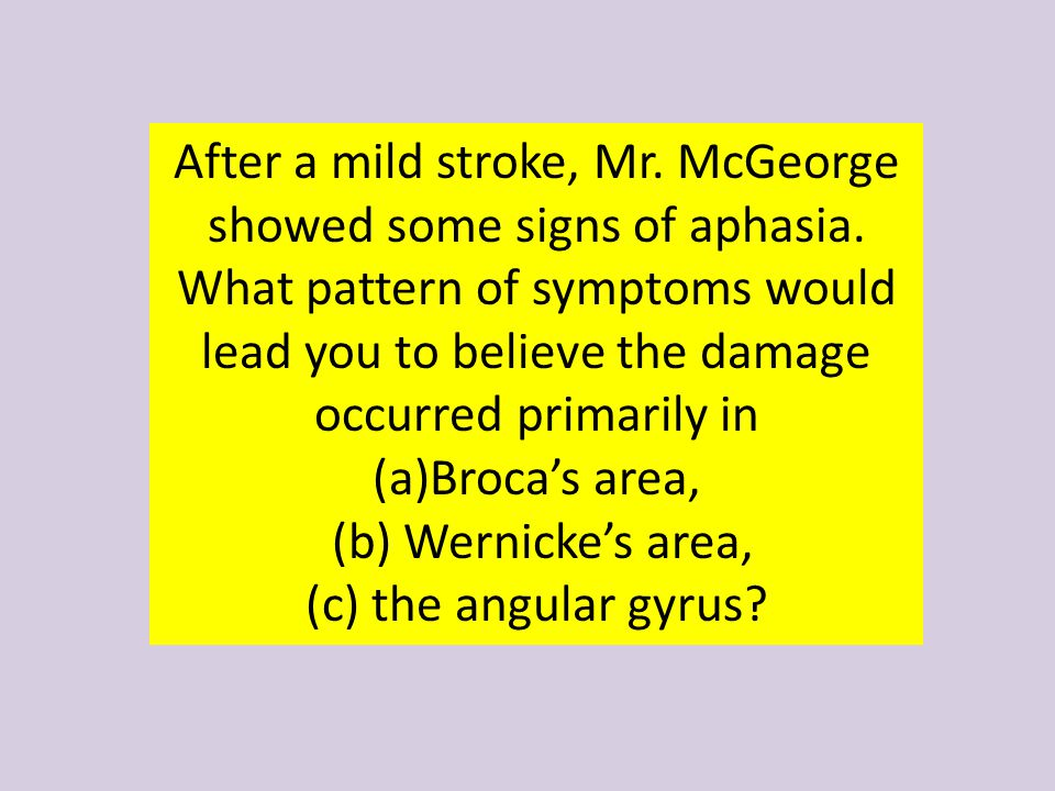 After a mild stroke, Mr. McGeorge showed some signs of aphasia