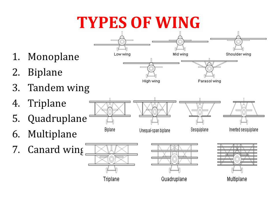 TYPES OF WING Monoplane Biplane Tandem wing Triplane Quadruplane