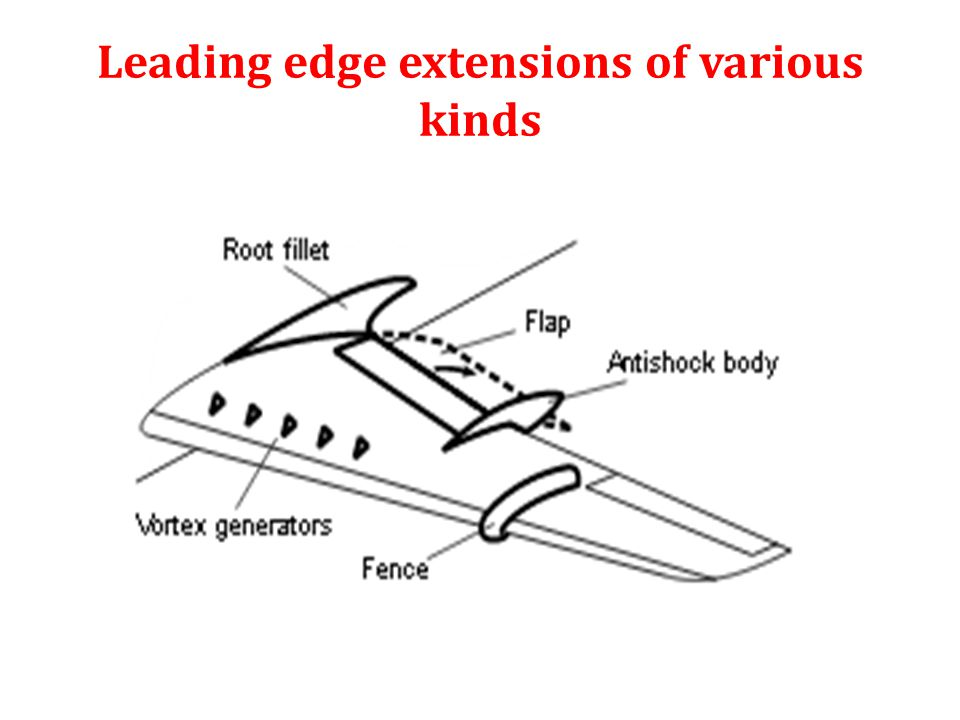 Leading edge extensions of various kinds