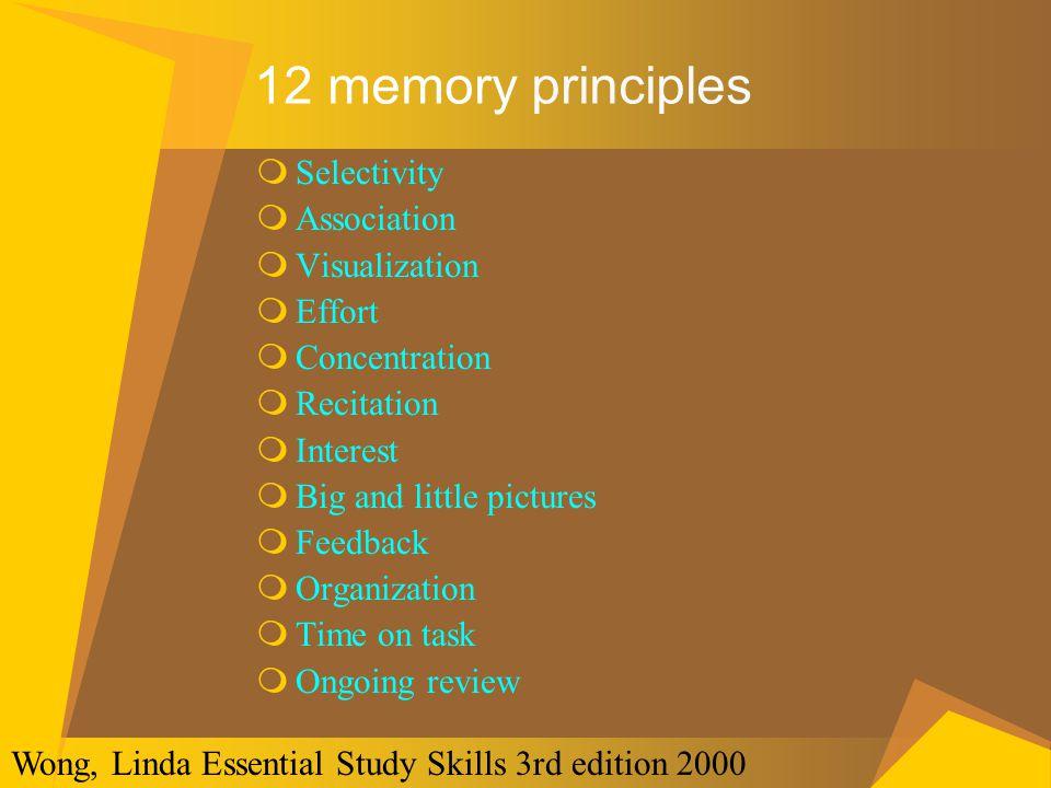 12 memory principles Selectivity Association Visualization Effort