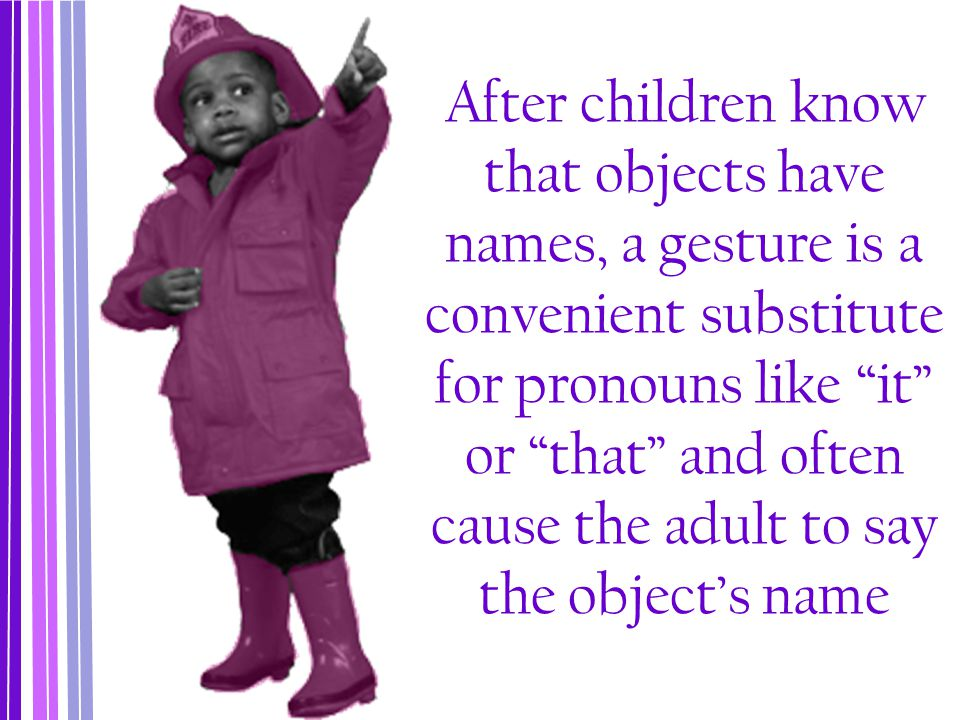 After children know that objects have names, a gesture is a convenient substitute for pronouns like it or that and often cause the adult to say the object's name