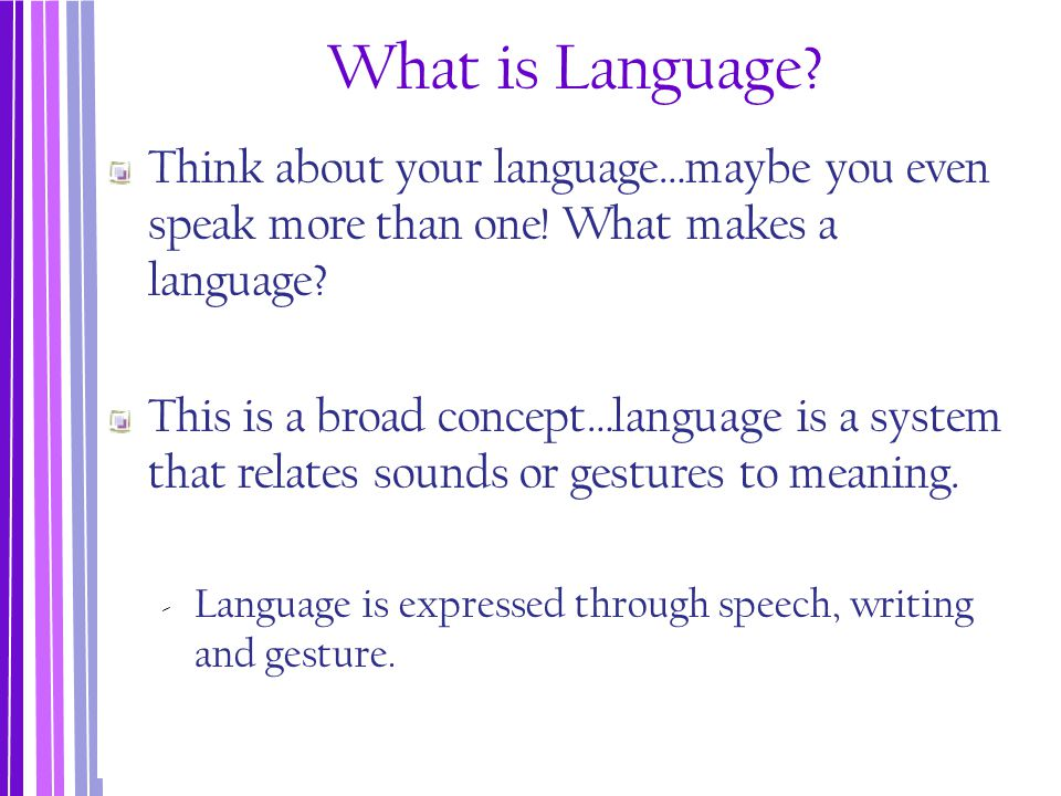 What is Language Think about your language…maybe you even speak more than one! What makes a language