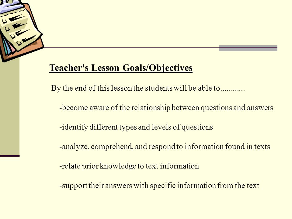 Teacher s Lesson Goals/Objectives