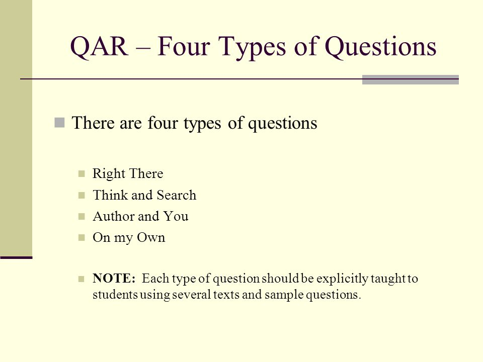 QAR – Four Types of Questions