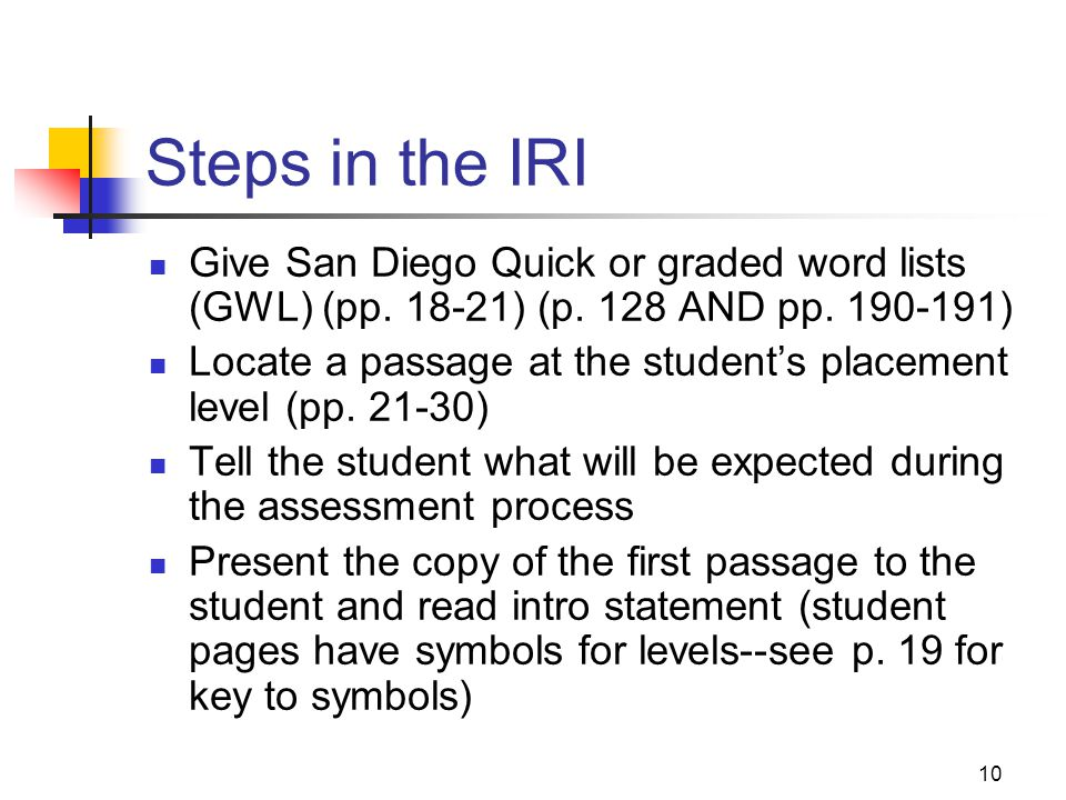 Steps in the IRI Give San Diego Quick or graded word lists (GWL) (pp. 18-21) (p. 128 AND pp. 190-191)