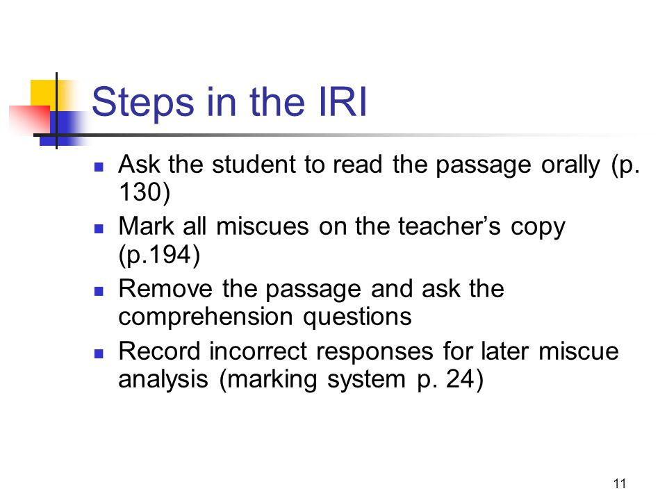 Steps in the IRI Ask the student to read the passage orally (p. 130)
