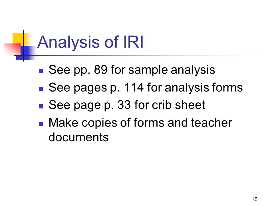 Analysis of IRI See pp. 89 for sample analysis