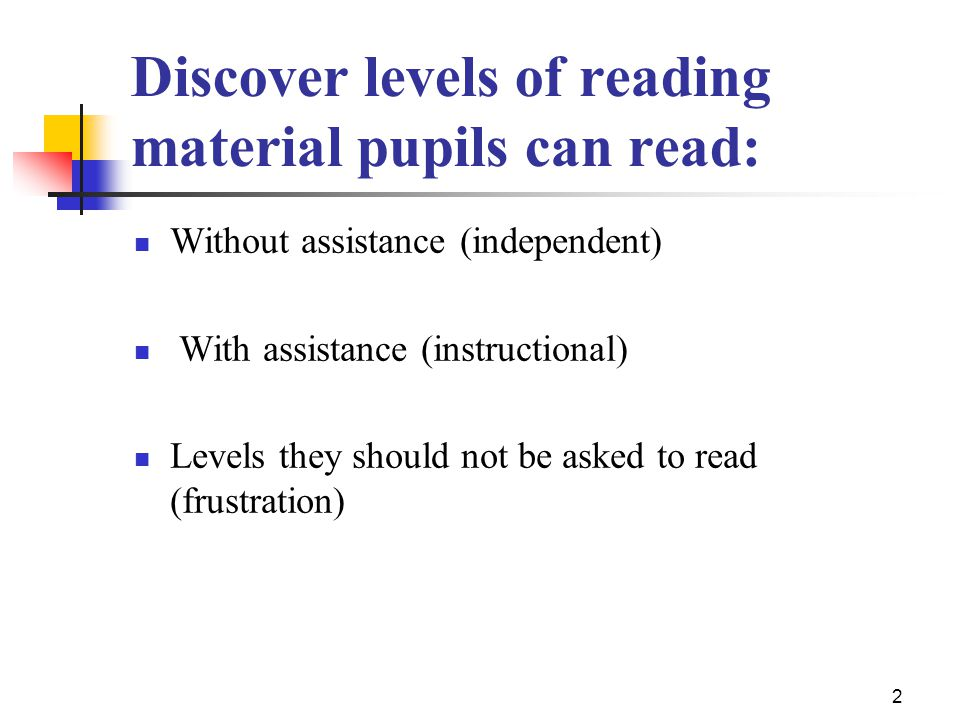 Discover levels of reading material pupils can read: