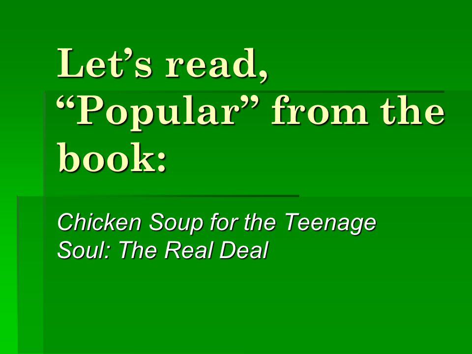 Let's read, Popular from the book: