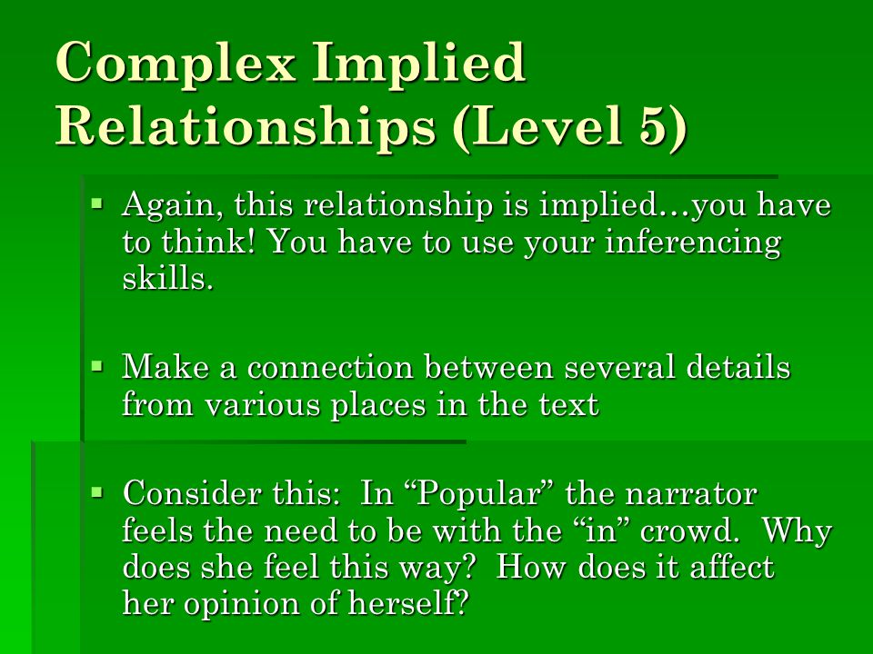 Complex Implied Relationships (Level 5)