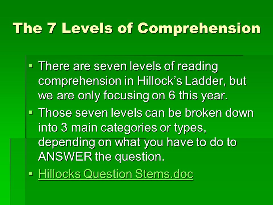 The 7 Levels of Comprehension