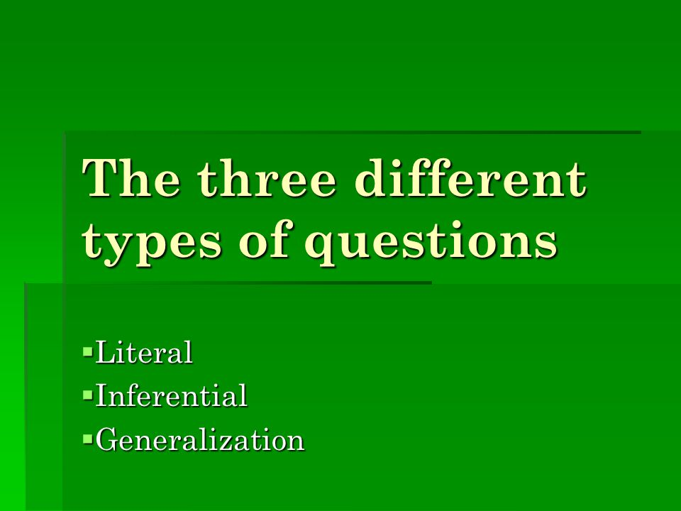The three different types of questions